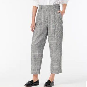 NWT J. Crew High Rise Tapered Plaid Pant in Black